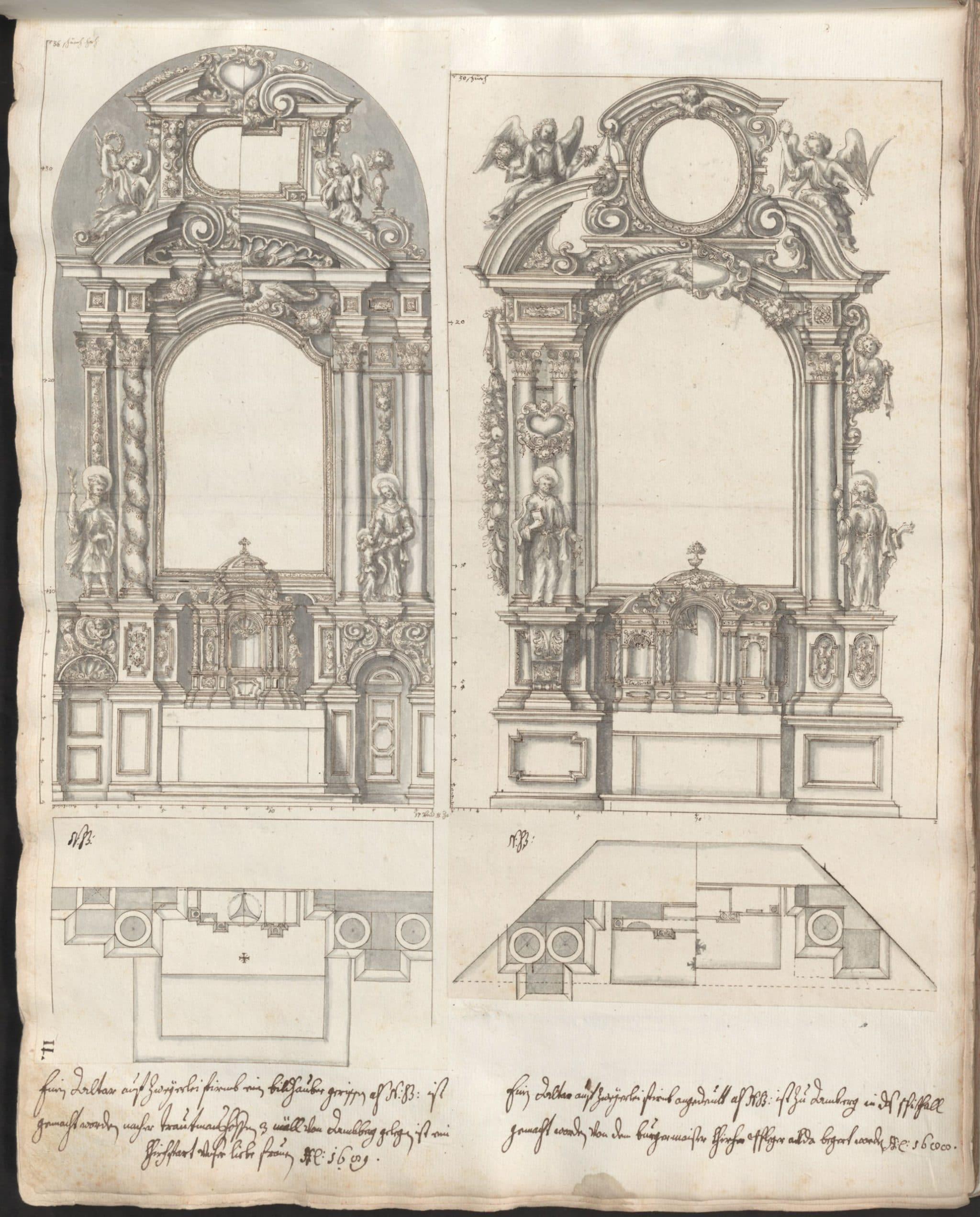 Altarentwürfe für die Marienwallfahrtskirche in Trautmannshofen/Opf. und das Spital in Amberg/Opf. (11r )