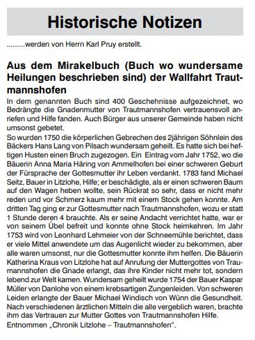 Mirkalbuch Wallfahrtskirche Trautmannshofen, Mitteilungsblatt Pilsach